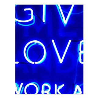 Carte Postale Signe au néon bleu d'amour