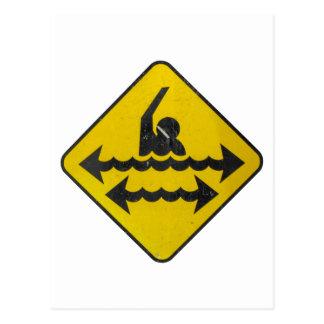 Carte Postale Signe de danger de natation