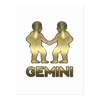 Carte Postale Signe de zodiaque de Gémeaux - édition de vieil or