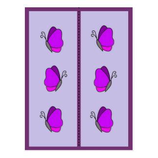 Carte Postale Signet pourpre rose coloré de papillon