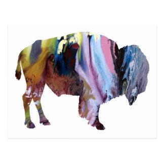 Carte Postale Silhouette abstraite de bison