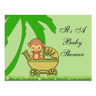 Carte Postale Singe de jungle dans le baby shower de voiture