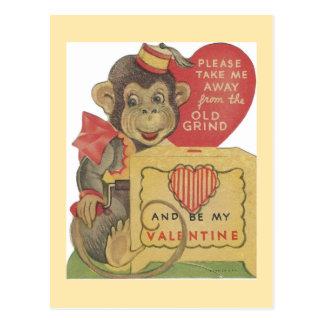 Carte Postale Singe vintage Valentine de broyeur d'organe