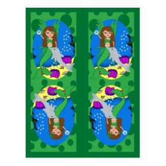 Carte Postale Sirène et signets verts de Merfaery