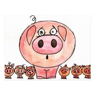 Carte Postale Six petits porcs