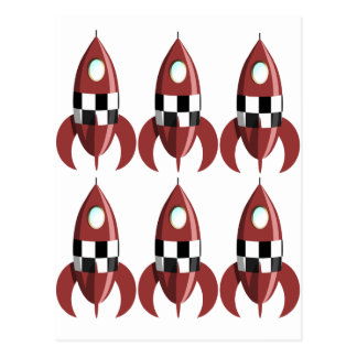 Carte Postale Six Rocket rouges