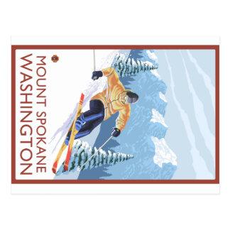 Carte Postale Skieur de neige de Downhhill - bâti Spokane,