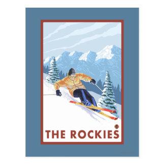 Carte Postale Skieur de neige de Downhhill - les Rocheuses
