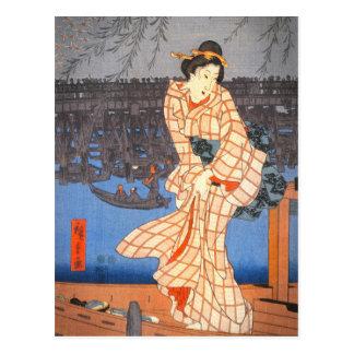 Carte Postale Soirée de Hiroshige sur l'art de Japonais de