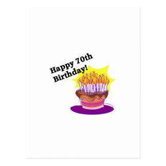 Carte Postale soixante-dixième Gâteau d'anniversaire