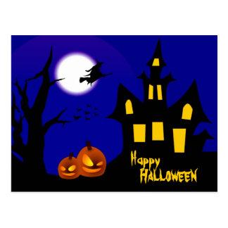 Carte Postale Sorcière de vol dans la nuit de Halloween