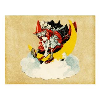 Carte Postale sorcière vintage de Halloween