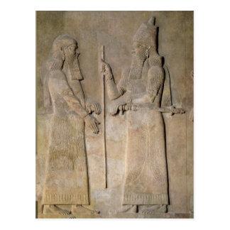 Carte Postale Soulagement dépeignant Sargon II et un vizir