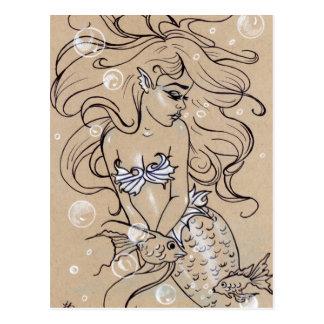 Carte postale sous-marine de poissons de sirène