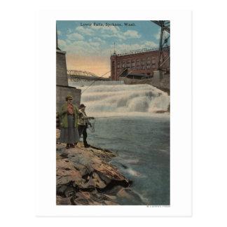 Carte Postale Spokane, WA - pêche de couples des automnes