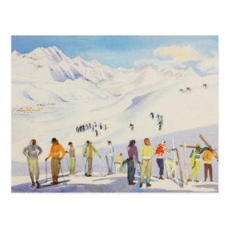 Carte Postale Sports d'hiver vintages, skieurs sur les pistes