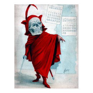 Carte postale squelettique de diable de calendrier