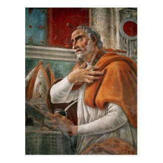 Carte Postale St Augustine en sa cellule, c.1480