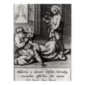 Carte Postale St Catherine exorcisant un démon d'une femme