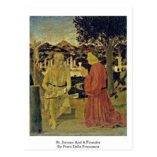 Carte Postale St Jerome et un fondateur par Piero della