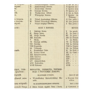 Carte Postale St Petersbourg, page d'index des pages de titre de