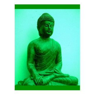 Carte Postale Statue en bronze verte de Bouddha par Sharles