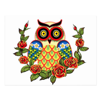 Carte Postale Style de hibou et de Mexicain de roses