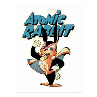 Carte Postale Super héros drôle d'art de bande dessinée de lapin