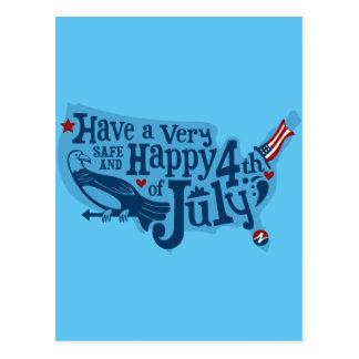 Carte Postale Sûr et heureux 4 juillet