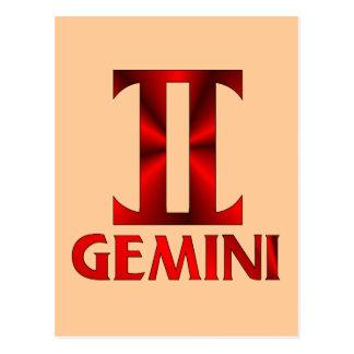 Carte Postale Symbole rouge d'horoscope de Gémeaux