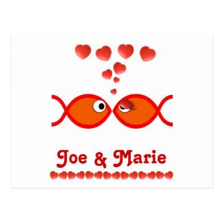 Carte Postale Symboles chrétiens de Valentine - v1 orange