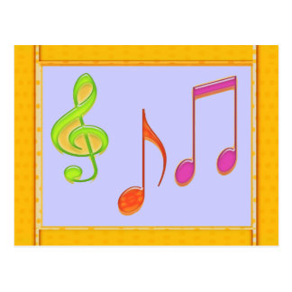 Carte Postale Symboles de musique multicolores de danse