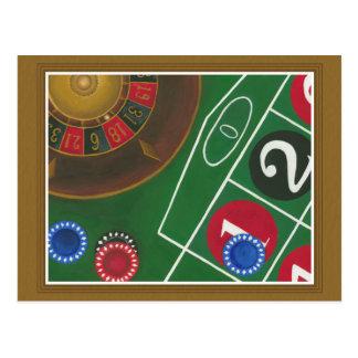 Carte Postale Tableau de roulette avec les puces et la roue