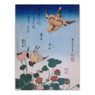 Carte Postale Tarte Katsushika d'hirondelle et de bégonia et de