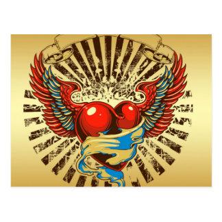 Carte Postale Tatouage à ailes de coeur