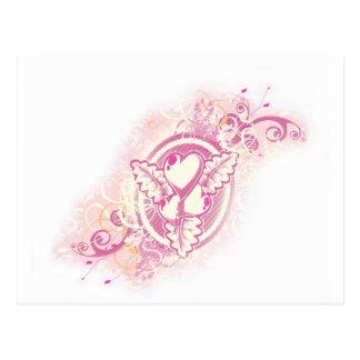 Carte Postale Tatouage de coeur avec des fleurs