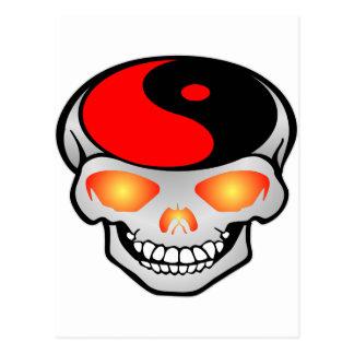 Carte Postale Tatouage de crâne de Yin-Yang