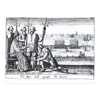 Carte Postale Taureau du pape contre la reine en 1570