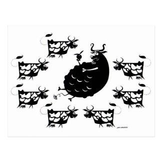Carte Postale Taureau et vaches