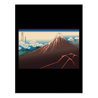 Carte Postale Tempête de pluie de Hokusai sous le sommet
