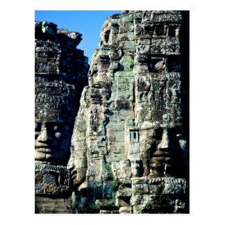 Carte Postale Temple de Bayon dans Angkor Cambodge deux visages