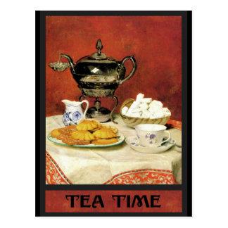 Carte Postale Temps de thé de ~ d'Albert Samuel Anker