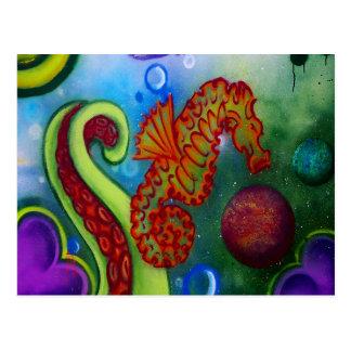 Carte Postale tentacule d'hippocampe et de poulpe