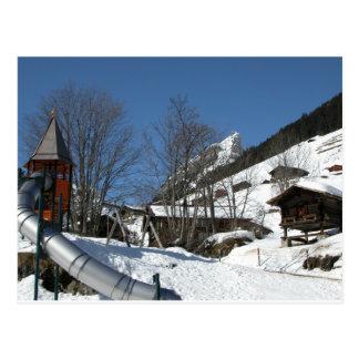 Carte Postale Terrain de jeu, Gimmelwald, Jungfrau, Suisse