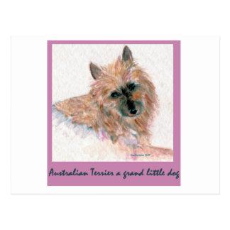 Carte Postale Terrier australien rouge FONT FACE
