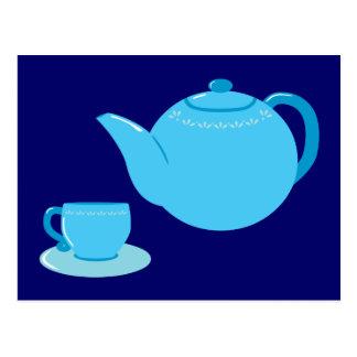 Carte Postale Théière bleue classique