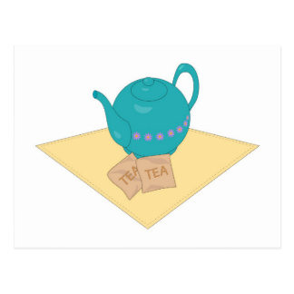 Carte Postale théière et sacs à thé bleus