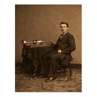 Carte Postale Thomas Edison vintage et phonographe