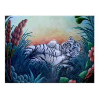 Carte Postale Tigre blanc de mini art dans des yeux bleus de