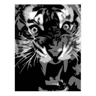 Carte Postale Tigre noir et blanc d'hurlement